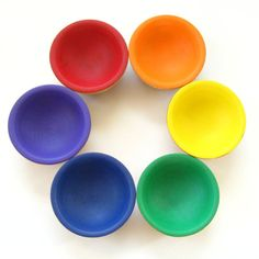 Wooden Rainbow Bowls  Matching / Sorting / by EnchantedDandelions would be neat for a play kitchen