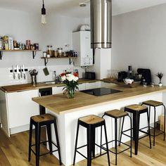 My White Kitchen Scandinavian Tile Subway Wood Stool Black Outside . Grey Kitchen Tiles, Kitchen Flooring, All Modern Furniture, White Furniture, Furniture Design, Layout Design, Küchen Design, Rustic Kitchen, Kitchen Decor