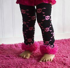 DIY Baby Girl's Hot Pink Skull and Black Leg Warmers with Hot Pink Ruffle-Skull Print Leg Warmers-Sz 6mo-8yrs-Wholesale