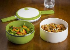 Double Stacked 3 Piece Round Microwave Lunch Bowl Set