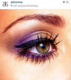 Beautiful look created using Arbonne's limited edition Sugar Plum Baked Eyeshadow Palette and It's a Long Story Mascara in purple...yes, purple mascara! Cannot wait to try this!