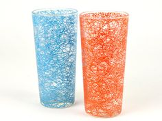 Mid-Century Red Blue Glasses MCM Tumbler  Retro by ZintageArchive