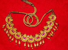 OLD 22K GOLD and RUBIES necklace from India by PetiesPorch on Etsy