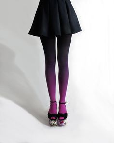 Need me some ombre tights. BZR Ombré tights in Fuschian Violet Ombre Tights, Purple Tights, Ombre Leggings, Black Tights, Colored Tights, Fall Tights, Fuschia Shoes, Opaque Tights, Womens Fashion