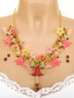 Pink Lucite Flower Statement Necklace | DoubleSJewelry - Jewelry on ArtFire