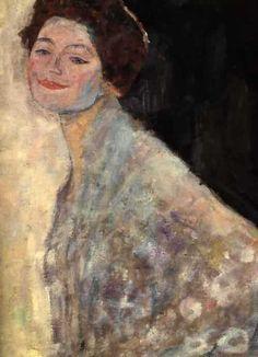 Gustav Klimt >> Portrait of a Lady in White(unfinished) (1917 18)