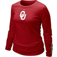 Nike Oklahoma Sooners Women's Crimson Classic Logo Long Sleeve T-shirt ($21) ❤ liked on Polyvore featuring tops, t-shirts, crimson, red top, nike tops, nike t shirts, red tee and nike