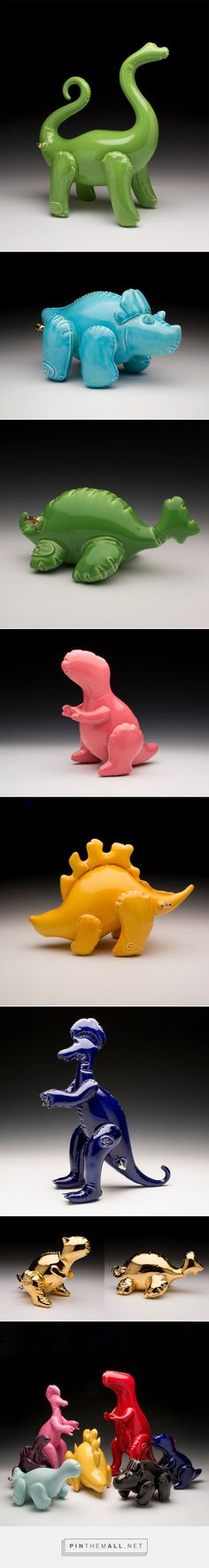 New Ceramic Dino Designs by Brett Kern Made to Look Like Inflatable Toys…