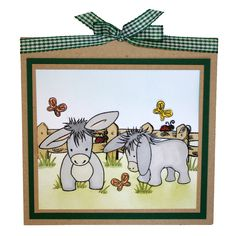 This is the gorgeous new Dudley the Donkey set designed by Sharon Bennett for Hobby Art. Clear set contains 15 stamps. Overall size of set - 100mm x 260mm approx. All our clear stamps are made with photopolymer resin. As seen on Create & Craft. This Stunning card was made by Bernie Simmons