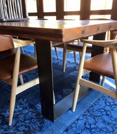 This Dining Room Table is made with Flat Bar Steel Legs and reclaimed wooden top Dining Room Table, Dining Chairs, Wooden Tops, Bespoke Furniture, Steel, Legs, Bar, Canning, Home Decor
