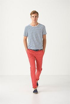 STRIPE HYPE: Nautical stripes and coloured chinos in a slimmer, low-rise fit refresh your look for an instant summer style update. Country Road MAN Summer 2012