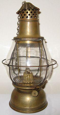 Antique HB&H HOLMES BOOTH & HAYDENS kerosene oil lamp lantern brass marked globe #HOLMESBOOTHHAYDENS