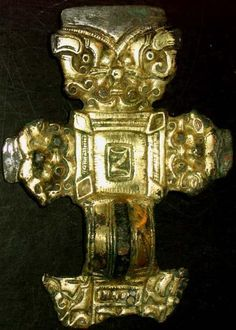 Anglo-Saxon 'florid' cruciform brooch, now in a private collection from an auction website. 6th century AD, gilded and silvered copper-alloy. Now missing its foot, but the perforation at the base suggests it may have once been repaired.