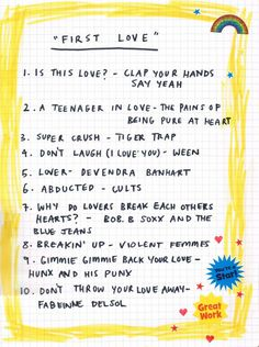 "Friday ""first love"" playlist from Rookie mag"