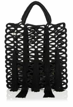 JIMMY CHOO Crochet Rope Tote Bag with Tassels