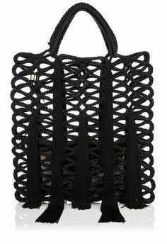 JIMMY CHOO Crochet Rope Tote Bag with Tassels