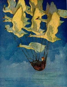 Harry Rountree , 'The Wild Swans' - Illustration (Birds with strings) The Magic Faraway Tree, Ouvrages D'art, Fairytale Art, Children's Book Illustration, Book Illustrations, Art Design, Bird Art, Art Inspo, Fantasy Art