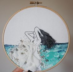 Original She who wears the Sea' fiber art A perfect gift (for you or for somebody you love) that will definitely add elegance and beauty to the place where it is displayed! This piece is embroidered by hand on %100 cotton canvas fabric and high quality acrylic paint with %100 cotton