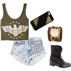 Green Army Crop Tank + Distressed Studded High Waisted Light Wash Denim Shorts + Studded Combat Boots + Cuff Watch