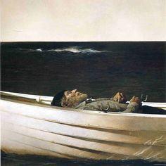 Adrift - Andrew Wyeth Arguably my favorite painter, alongside Edward Hopper. Jamie Wyeth, Andrew Wyeth Paintings, Andrew Wyeth Art, Nc Wyeth, Beaux Arts Paris, Magic Realism, Edward Hopper, Magritte, Caravaggio
