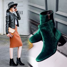 (53.69$)  Buy here - http://aifnw.worlditems.win/all/product.php?id=32767932163 -  Luxury Velvet Ankle Boots Women SqUARE Toe Thick Heel Martin Boots Fashion Christmas High Heel Party Shoes Woman