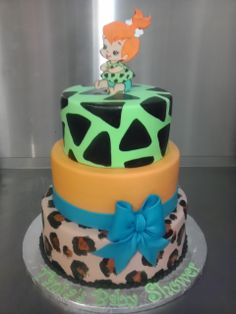 Pebbles Baby shower flinstones. Bithday cake