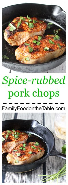 Spice-rubbed pork chops - easy, fast and packed with flavor! | Family Food on the Table