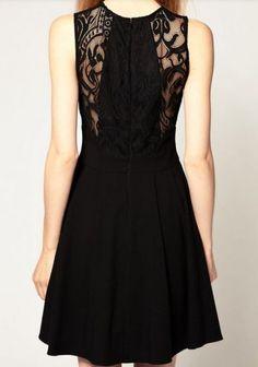 Black Sleeveless Lace Dress - Sheinside.com