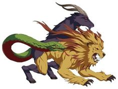 The Chimera, in mythology, is a Greek monster with the body and head of a lion with a snake for a ta Greek Creatures, Fantasy Creatures, Mythical Creatures, Greek Monsters, Manticore, Mythological Creatures, Dungeons And Dragons, Mythology, Fantasy Art