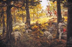 A recent painting by Andy Thomas shows British commander Patrick Ferguson, broad sword in his left hand, trying to rally his men just before he is shot at the Battle of King's Mountain.