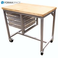 Mobile Kitchen Island with Map Top and Elfa Drawers | FORMASPACE | Crisp, clean, and aesthetically appealing IT lab.