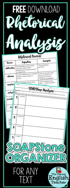Free rhetorical analysis activity! This includes a rhetorical device student handout as well as a SOAPStone organizer to help make rhetorical analysis a breeze in the middle school and high school classroom.