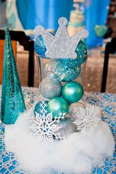 Frozen birthday party centerpieces! See more party ideas at CatchMyParty.com!