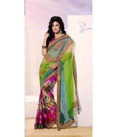 Charismatic look half and half saree