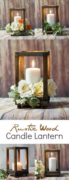 Diy wedding centerpieces 771734086121342736 - Rustic Wood Candle Lantern – perfect for a rustic farmhouse wedding or rustic farmhouse home decor! Deco Champetre, Diy Centerpieces, Rustic Lantern Centerpieces, Centerpiece Flowers, Lantern Wedding Centerpieces, Rustic Lanterns, Rustic Wedding Table Decorations, Rustic Candles, Rustic Candle Holders