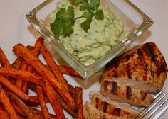 Sweet Potato Oven Fries with Avocado Dip