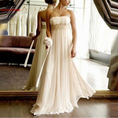 ==> [Free Shipping] Buy Best 2017 Customize Beach Wedding Dress Strapless Empire Waist Vestidos De Novia Chiffon Bridal Gown White Long Wedding Dresses Online with LOWEST Price | 32791442864