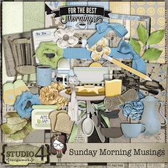 """Here's a relaxed, do-it-at-your-own-pace kit - Sunday Morninig Musings. Relaxing and taking it easy at the end of a long week - this kit will be great to scrap those great Sunday morning feelings and happenings. The kit containts 14 - 300 dpi, 12"""" x 12"""" JPEG papers and 36"""