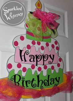 Personalized Birthday Cake Door Hanger Sign, Happy Birthday