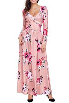 Robe Boheme Rose Fleurie Manches Longues Surplis 1969f859787