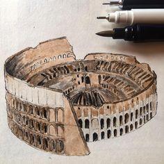 "900 curtidas, 21 comentários - Oğuzhan Çengel (@mr__constantine) no Instagram: ""#art #architecture #building #sketch #sketchbook #sketchmuseum #sketch_arq #sketch_daily…"""