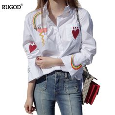 ec898d437c4 Click to Buy    Rugod Spring Autumn Cotton women blouses long sleeve shirt.