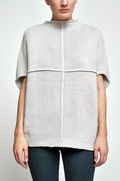 boxy pullover with folded construction to form the armholes and center front seam