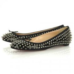 02ad9e39779a Cheap Christian Louboutin Big Kiss Studded Flats Black Sale   Christian  Louboutin 187.87 Flats For Sale
