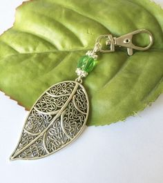 Large leaf statement bag charm with green glass bead Blue Forest, Travelers Notebook, Junk Journal, Glass Beads, Charms, Leaves, Autumn, Purses, Green