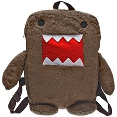 Show your love for Japan's cuddliest export with this brown plush backpack, with Domo in soft plush with felt featured and stuffed arms and legs. Features a spacious zippered main pocket and adjustable straps for extra comfort. The perfect bag for fans of Domo on the go! Dimensions: 12 in H x 9 in W x 3 in D