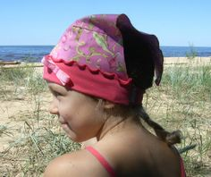 Girl headscarf pink cotton jersey and floral pink by Lupeworks, $19.00
