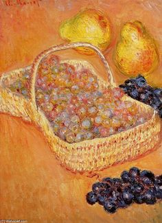 Claude Monet >> Basket of Grapes, Quinces and Pears  |  (Oil, artwork, reproduction, copy, painting).