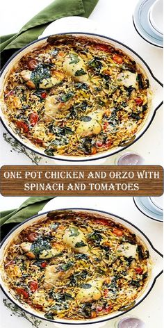 One Pot Chicken and Orzo with Spinach and Tomatoes One Pot Chicken, One Pan Meals, Chicken Fajitas, Orzo, Tomatoes, Spinach, Breakfast, Sweet, Food