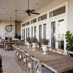 Dodson and Daughter Interior Design: Beautiful deck/patio design with wood plank outdoor dining table, French cafe chairs - fireplace with outdoor living space Outdoor Rooms, Outdoor Decor, Outdoor Fans, Rustic Outdoor, Rustic Patio, Outdoor Patio Fans, Country Patio, Outdoor Kitchens, Rustic Table